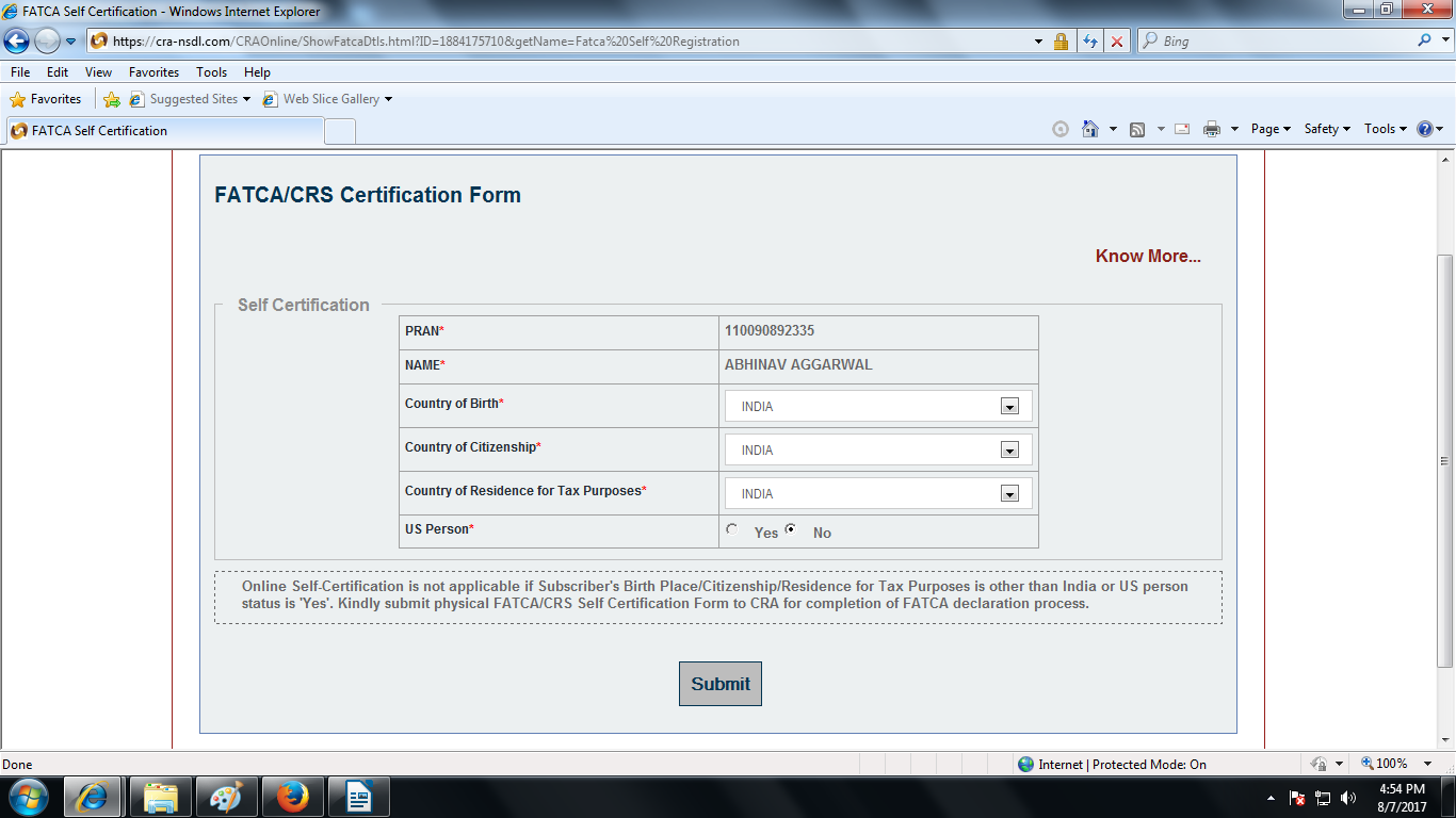 NSDL CRA FATCA Self Declaration Form